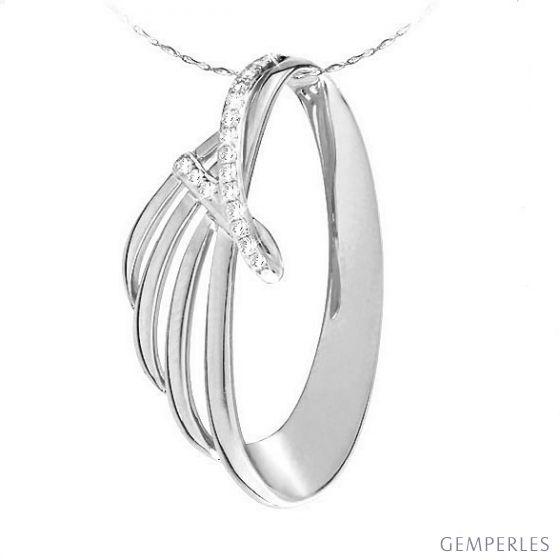 Pendentif océan or blanc diamants - Style contemporain forme écailles