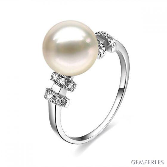 Bague moderne femme en or blanc - Perle eau douce blanche - Diamants