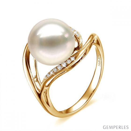 Bague femme perle - Or jaune, diamants - Perle de culture blanche