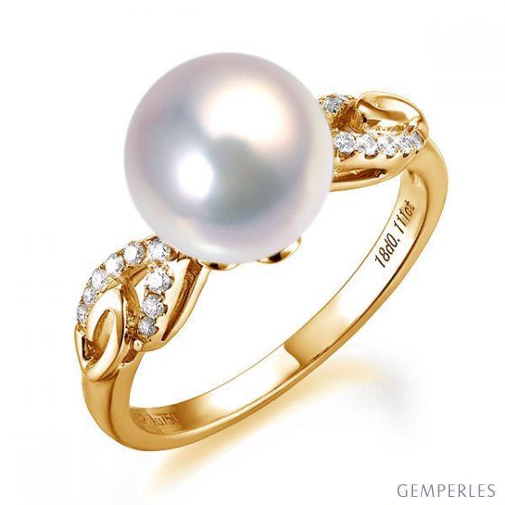 Bague du couple danseur - Perle eau douce - Or jaune 18cts, diamants