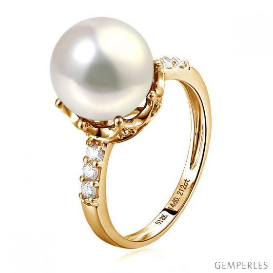 Bague couronne perlée - Perle de culture blanche - Diamants, or jaune