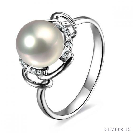 Bague contemporaine perle blanche - Or blanc 750/1000 et diamants