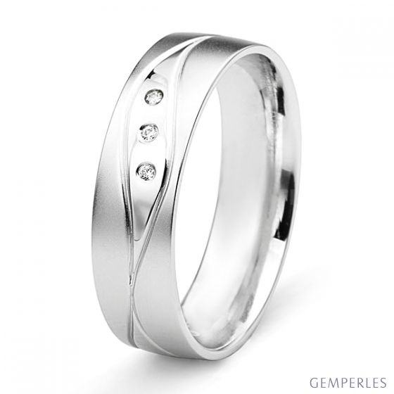 Alliance Homme lignes enchevêtrées - Or blanc, diamants