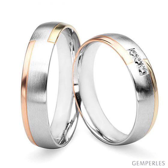 Alliances Couple. 3 Ors. Diamants 0.060ct