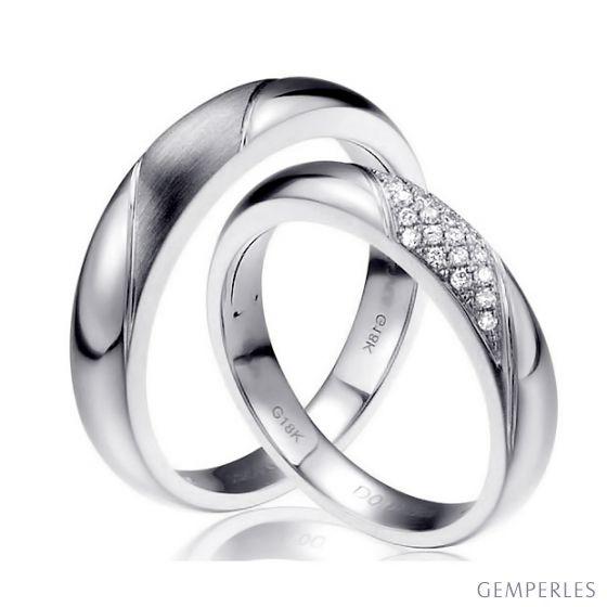 Alliances Duo - Or blanc - Diamants