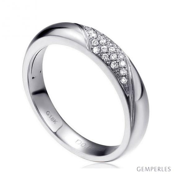 Alliance femme constellation - Or blanc - Diamants