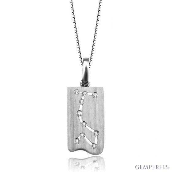 Pendentif scorpion or blanc - Constellation du zodiaque - Diamants