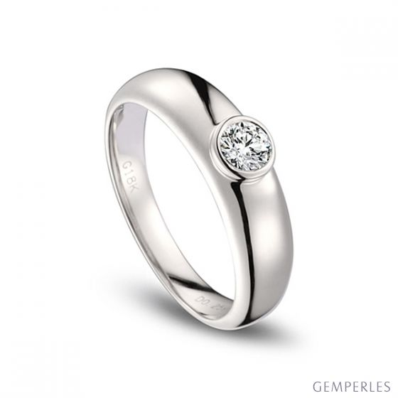 Alliance Homme. Or blanc. Diamant 0.30ct - 2