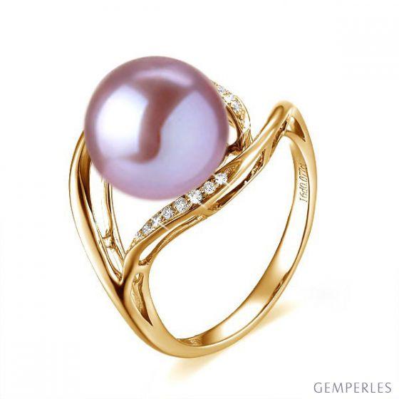 Bague femme perle - Or jaune, diamants - Perle de culture lavande
