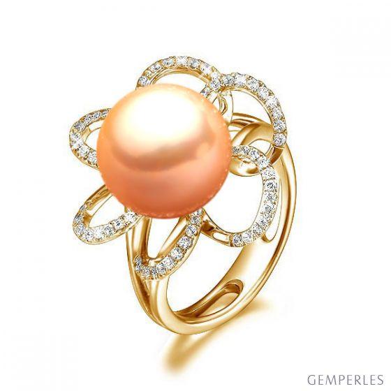 Bague fleur - Or jaune, diamants et perle rose