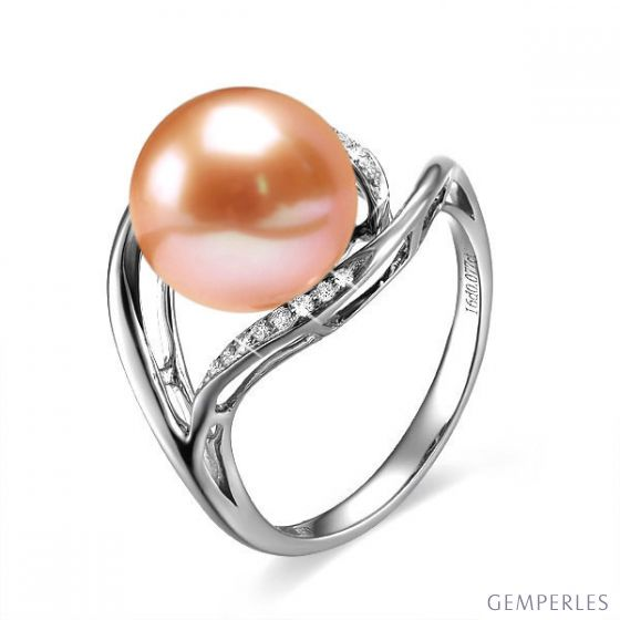 Bague femme perle - Or blanc, diamants - Perle de culture rose