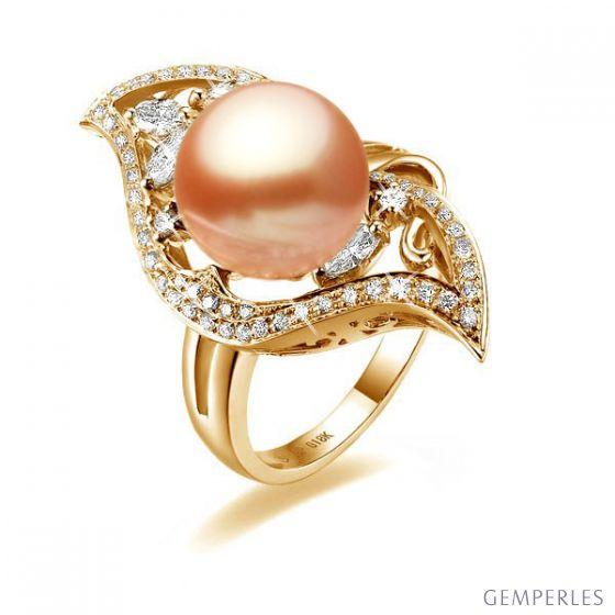 Bague or feuille - Perle de culture rose - Or jaune, diamants