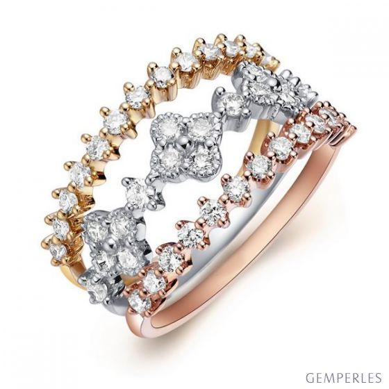Bague 3 anneaux or jaune, blanc et rose. Myriade diamants