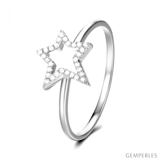 Bague Étoile Or blanc 18cts. 30 diamants 0.060ct