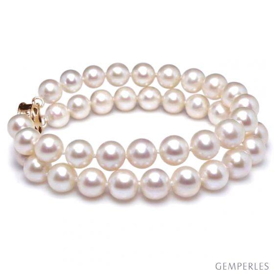 Bracelet Femme 2 rangs - Perles culture eau douce blanches - 8/8.5mm