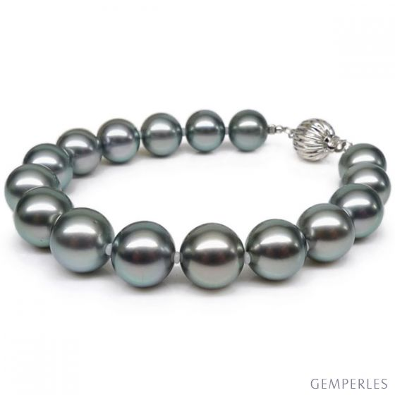 Bracelet perles de Tahiti grises - 9/10mm - Fermoir Or