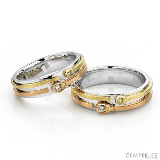 Alliances Couple. 3 Ors. Diamants 0.090ct