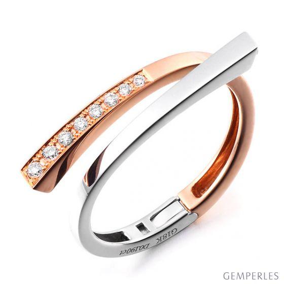 Bague originale deux ors blanc et rose - Pendentif cœur en diamants
