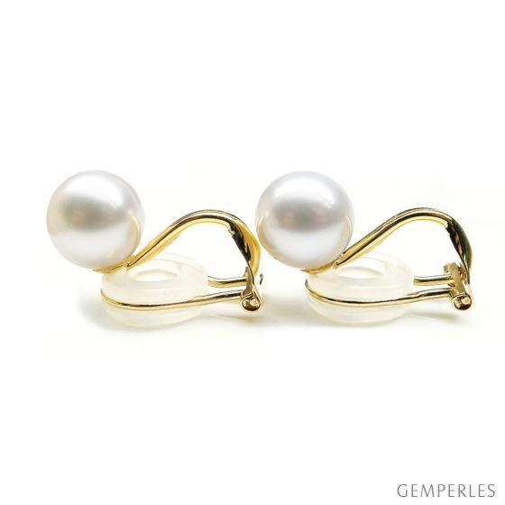 Boucles d'oreilles clip or jaune et perles de culture