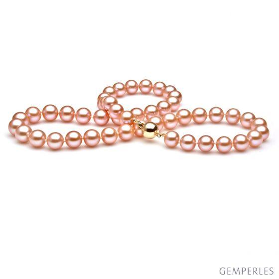 Perle de culture rose - Collier perles eau douce roses - 7.5/8mm - 2