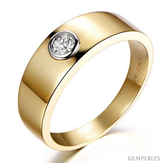 Bague chevalière homme 2 ors jaune et blanc - Anneau diamant 0.12ct