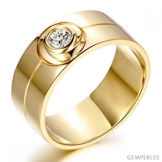 Bague homme chevalière - 8mm or jaune 18cts - Diamant 0.20ct