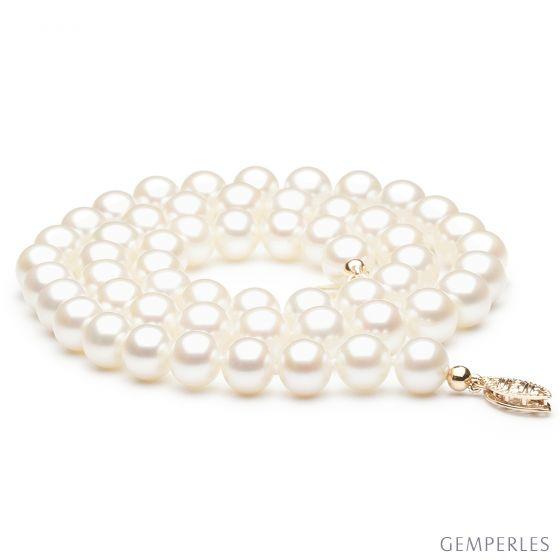Collier de perle blanche - Perle de culture Chine - 7/7.5mm