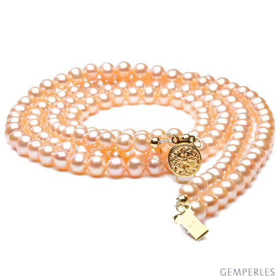 collier double rang perles roses - Perles de culture Chine - 5/5.5mm - 2