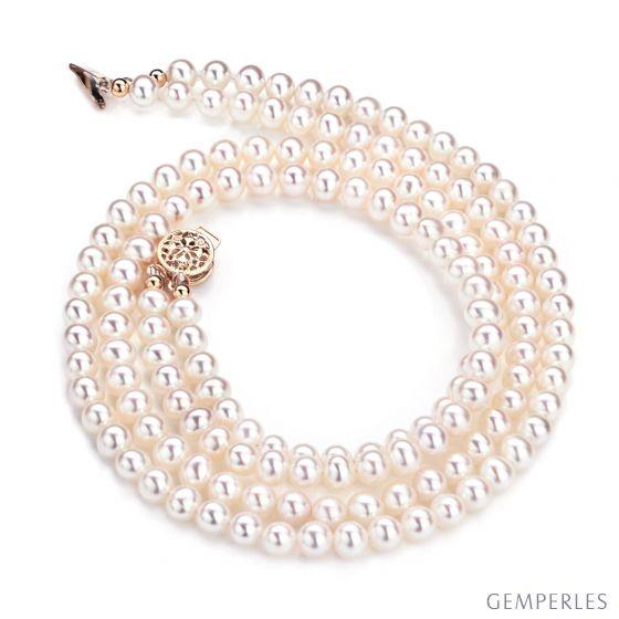 Collier double rang perles culture - Perle eau douce blanche 5/5.5mm