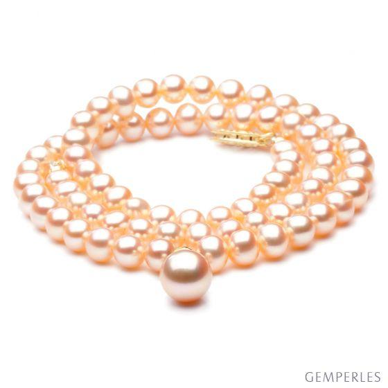 Collier de perles Chine avec pendentif - Perle de culture rose 5/9mm - 2