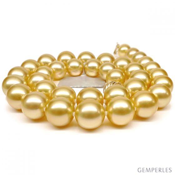 Collier grosses perles d'Australie dorées - Perles rares 11/13mm