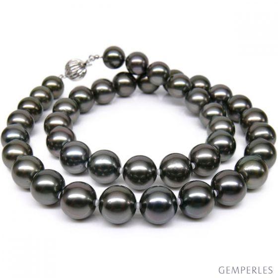 Collier perles de Tahiti noires -Perle de culture Polynésie 9/10mm