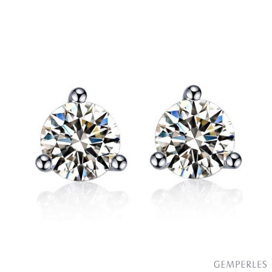 Puces diamants 0.10ct. Or blanc. Carat personnalisable