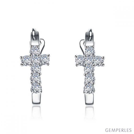 Boucles d'oreilles dormeuses religieuses. Croix diamants Or blanc