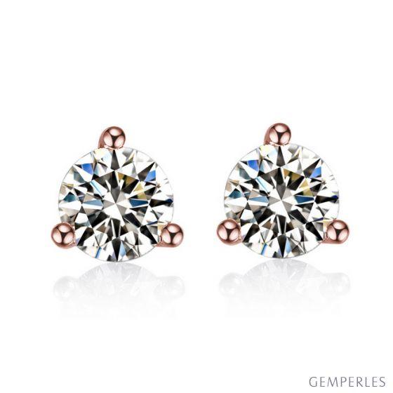 Puces diamants 0.10ct. Or rose. Carat personnalisable