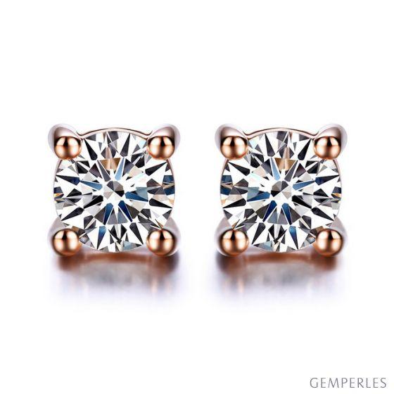 Puces diamants 0.20ct. Or rose Carat personnalisable