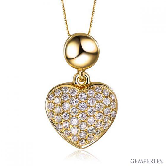 Pendentif coeur pavé de diamants - Or jaune et diamants 0.23ct