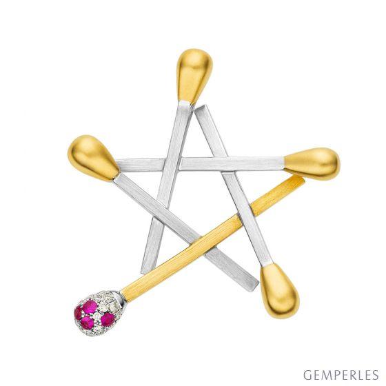 Pendentif étoilé - 5 allumettes superposées - 2 ors, diamants, rubis