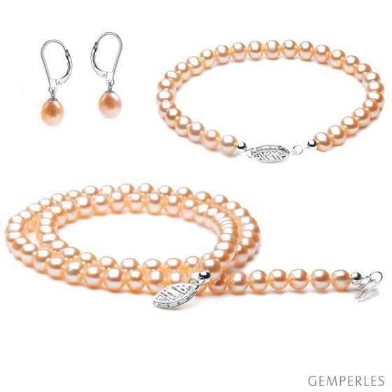 Parure bijoux rose - Perles de culture Chine - Or blanc