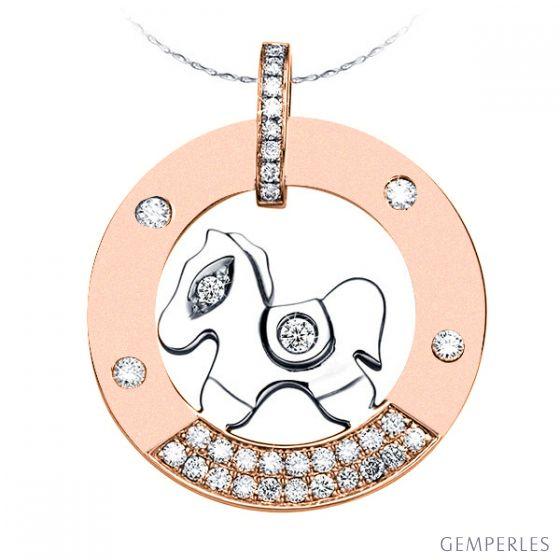 Pendentif cheval à bascule - Or blanc et rose - Diamants 0.29ct