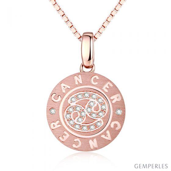 Pendentif Cancer Or rose. Signe du Cancer. Zodiaque