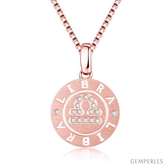 Pendentif Libra Or rose. Signe de la balance. Zodiaque