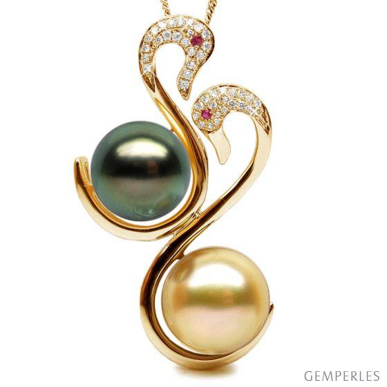 Pendentif cygnes - Perles des mers du sud - Or jaune, diamants