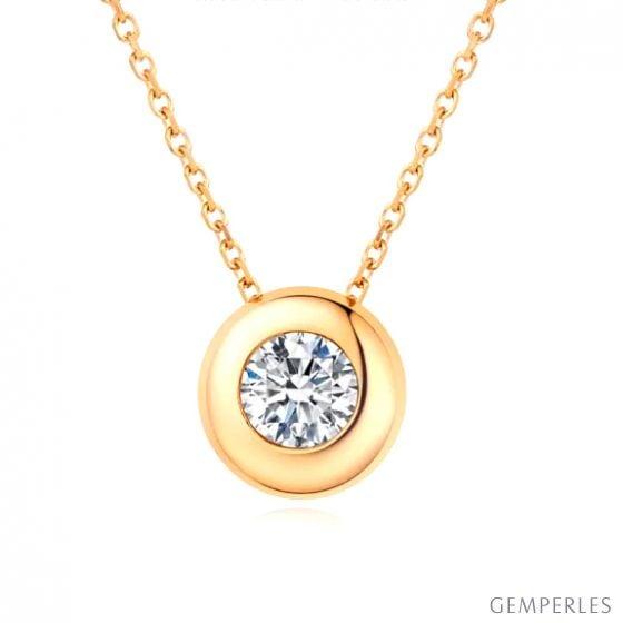 Pendentif solitaire or jaune - Diamant serti clos personnalisable
