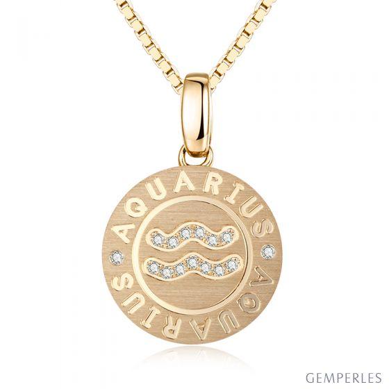 Pendentif Aquarius Or jaune. Signe du verseau. Zodiaque