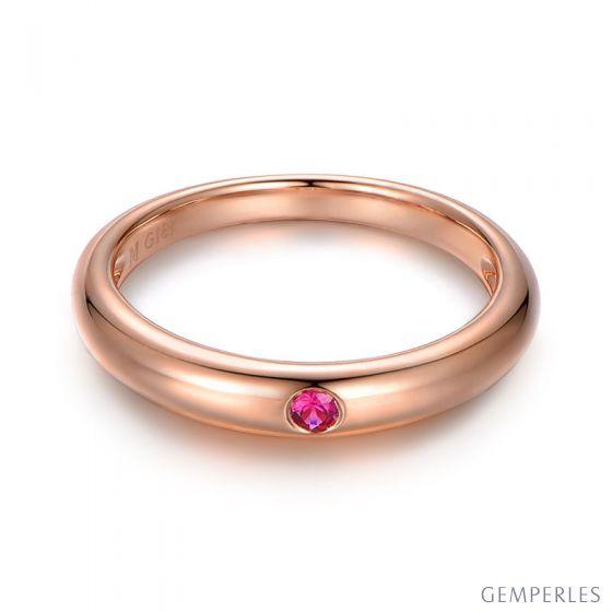 Alliance de mariage Or rose 18cts et rubis rouge rosé