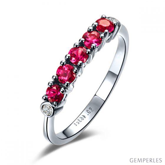 Bague rubis diamants - Sophistiquée et glamour - Or blanc