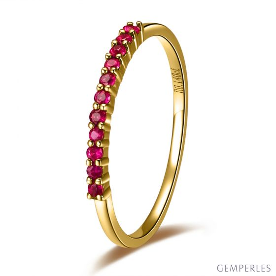 Bague or jaune 18 carats - Rubis de Birmanie - Anneau