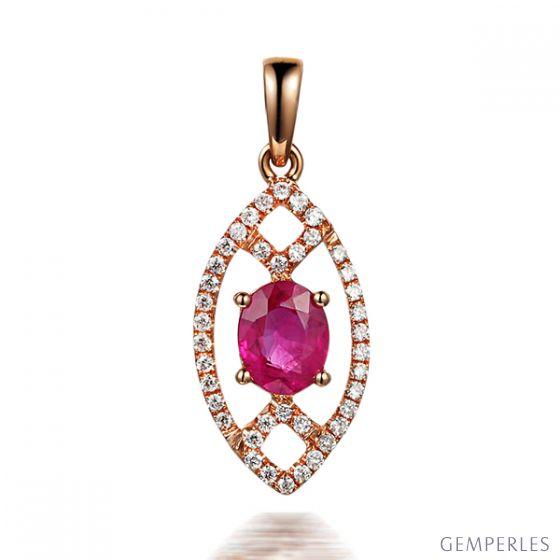 Pendentif ovalesque rubis or rose. Sertissage diamants