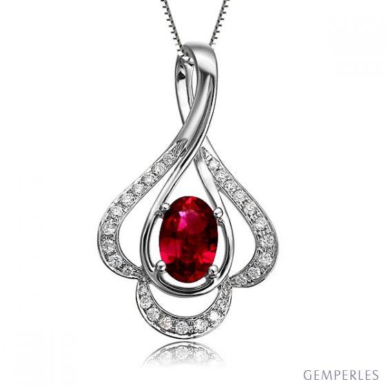 Pendentif solitaire Or blanc - Rubis et diamants en pendeloque